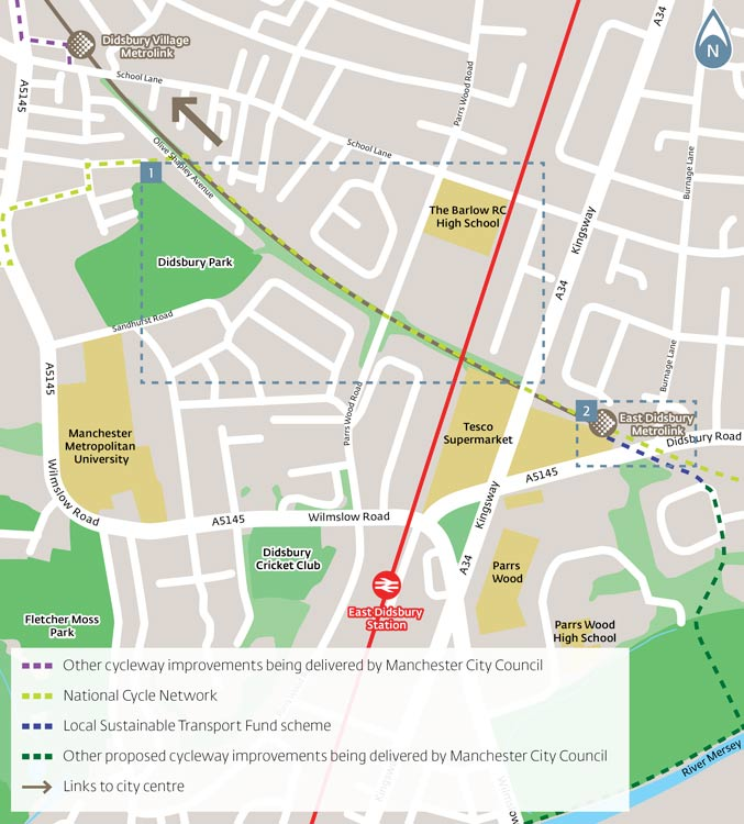 east didsbury cycle link main map